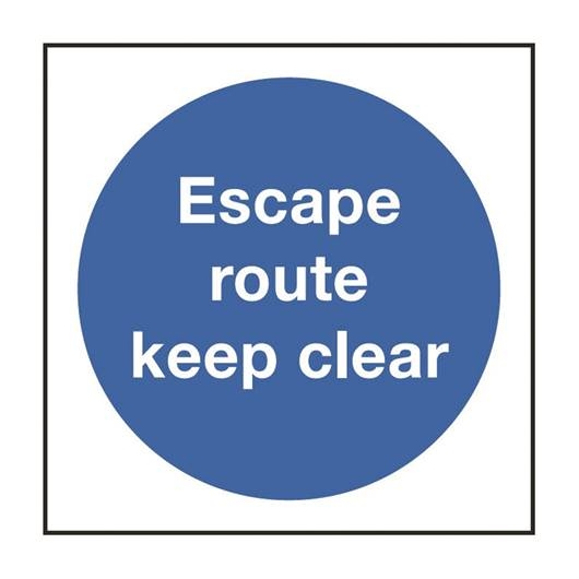 Picture of Escape Route Keep Clear Sign